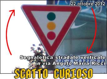 Rieti, segnaletica verticale al contrario in via Angelo Maria Ricci