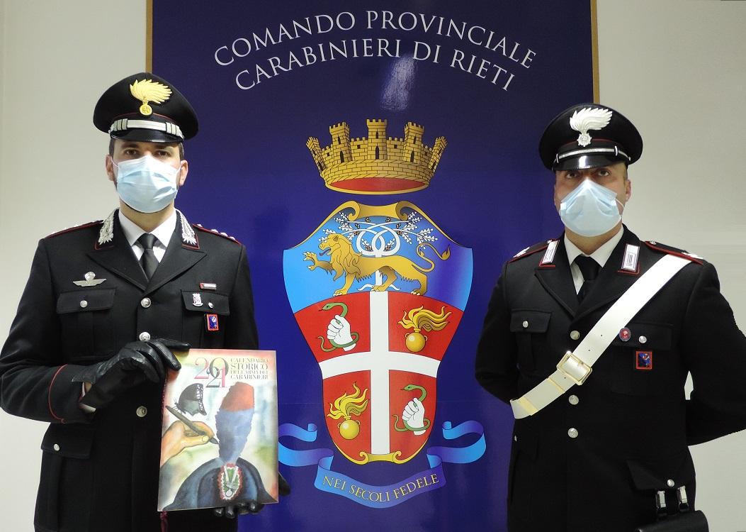 Calendario e agenda 2021 dell'Arma dei Carabinieri tra Dante